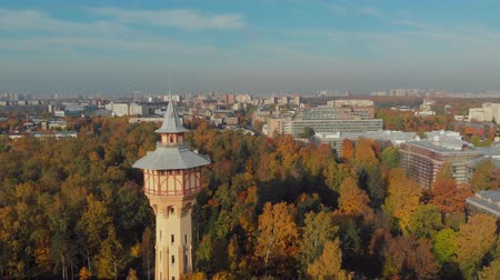 st petersburg : Drone photo view of the tower in the Park of the Polytechnic University Stock Footage