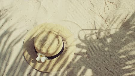 stín : Straw hat on sand, sun protection concept. Still life with a hat and shades of palm leaves