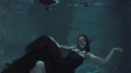 погружение : Mystical underwater portrait of a beautiful young woman in a red dress.
