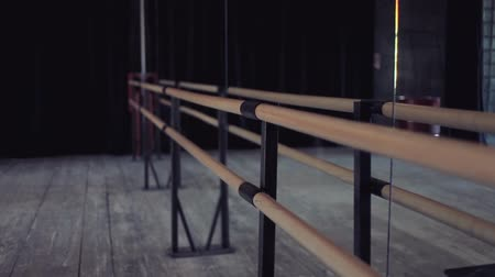 Ballet barre at the wall with a mirror, a hall for ballet and dance lessons, no one
