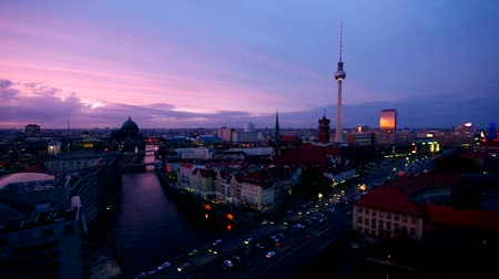 berlin skyline : Berlin by night Stock Footage