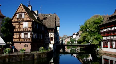 half timbered : Strasbourg Petite France in Alsace, France Stock Footage