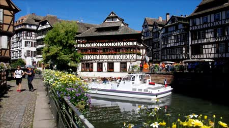 half timbered houses : Strasbourg Petite France in Alsace, France Stock Footage