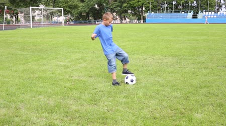 sport dzieci : Boy plays soccer on a football field with natural grass