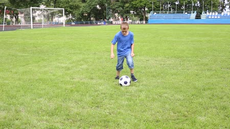 jogadores : Boy plays soccer on a football field with natural grass