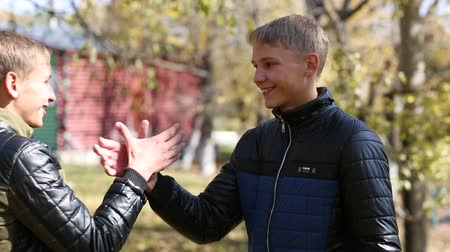 teenager : Meeting of two twin brothers in autumn park