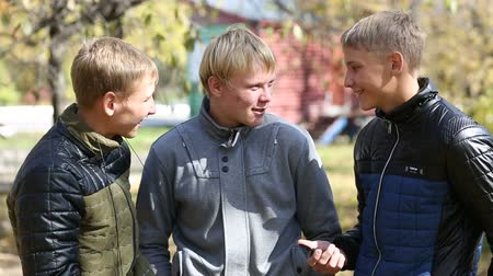 nastolatki : Three young guys on a friendly meeting in the park. Talk and communicate with each other. Two of the boys twin brothers.
