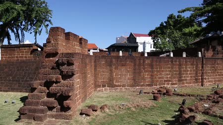 světové dědictví : MALACCA, MALAYSIA - CIRCA JANUARY, 2015: Reconstituted stone fortifications the Sungei Melaka, Malaysia. Malacca was included in the list of UNESCO World Heritage Sites in 2008. Dostupné videozáznamy