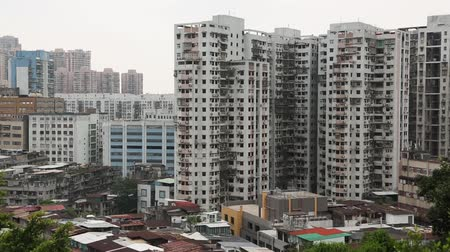 daireler : View of the residential areas with apartment houses Macao Stok Video