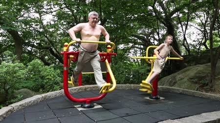 grandchild : Grandfather and his grandson involved in fitness training on sports simulators in a city Mong Ha Park in Macao Stock Footage