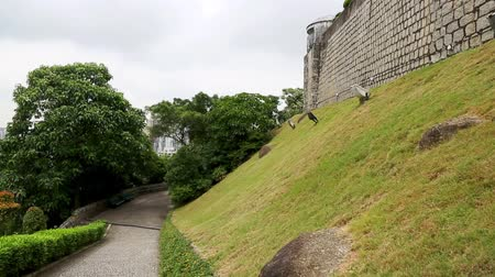 portugese : Park area the old Portuguese Guia Fortress in Macau Stock Footage