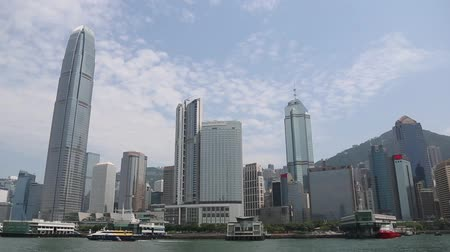 Виктория : HONG KONG  CIRCA JUNE 2014: View of the central districts Hong Kong modern highrise buildings from Victoria Strait. In the strait of very heavy traffic of ferries cruise ships and ocean liners