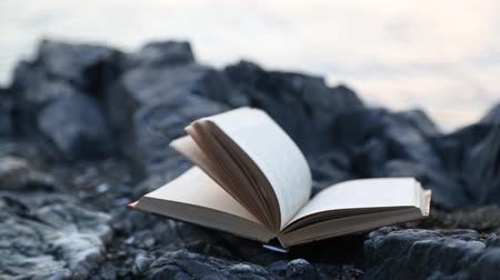 převrátit : Sheets of the book turned over in the wind. Book lies on a rock by the sea.