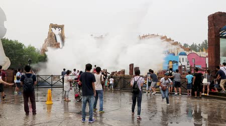 travel theme : BEIJING - CIRCA JUNE, 2015: Famous Happy Valley Beijing is an amusement park is composed of six themed areas. Water rides are very popular with visitors to the park amusement. Stock Footage