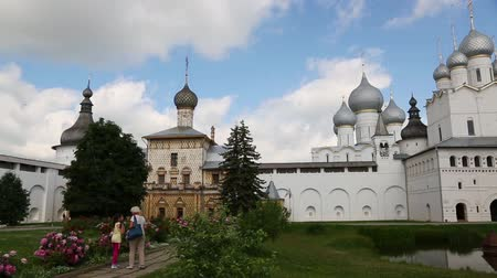 ROSTOV, RUSSIA - CIRCA JUNE, 2016: View of the bishops courtyard on the inside of the territory of the Rostov Kremlin. Rostov included in the tourist route Golden Ring of Russia