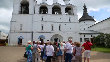 ROSTOV, RUSSIA - CIRCA JUNE, 2016: Tourists at Cathedral Square near Rostov Kremlin near Cathedral of the Assumption. Rostov included in the tourist route Golden Ring of Russia.