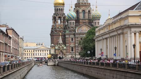 ST. PETERBURG, RUSSIA - CIRCA JUNE, 2016: Griboyedov Canal with views of the Church on Spilled Blood (or Resurrection Cathedral of Our Savior) in the historic center of St. Petersburg.