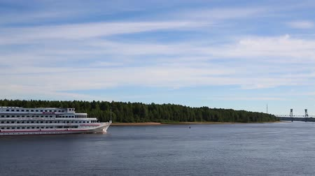 SVIR RIVER, RUSSIA - CIRCA JUNE, 2016: Cruise passenger ship moves on the river Svir. Svir River connecting Ladoga and Onega lakes in the north of Russia.
