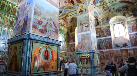 murals : LENINGRAD REGION, RUSSIA - CIRCA JUNE, 2016: Interior decoration and murals of the Trinity Cathedral of the Holy Trinity Alexander Svirsky male monastery in Lodeinopolsky area.