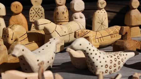northen : Childrens toys from a wood - the original copies of old toys made in the 19th century in the north of Russia. Stock Footage