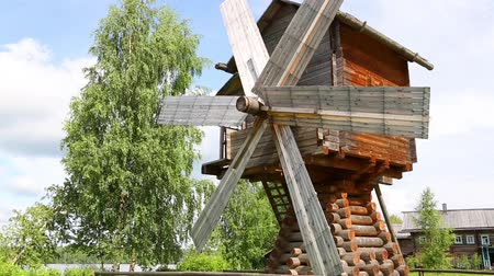 reconstructed : Old restored windmill in museum and tourist village of Upper Mandrogi. Karelia, north of Russia. Stock Footage