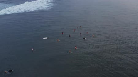 An aerial view group of surfers waiting for a wave in the ocean on a clear day. Aerial view of surfer on huge Indian ocean wave. Surfers on the beach top view Stock Footage