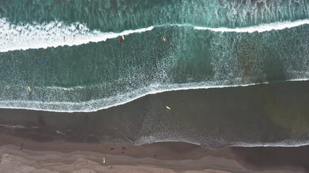 Aerial view. Aerial drone footage of ocean waves crashing on shore. Flying the ocean. Giant Waves Stock Footage
