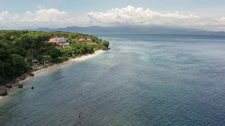 Aerial view from drone a beautiful coastal road. Nusa Penida island.