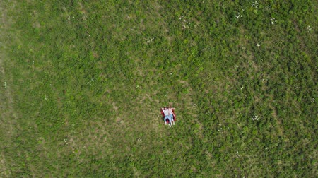 Happy young couple lying on the grass in the meadow. The camera slowly flies flies to them. Aerial top down. 4K. Wideo