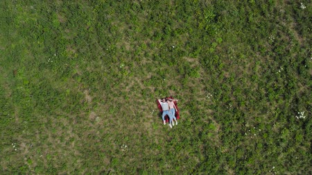 Happy young couple lying on the grass in the meadow. The camera slowly flies away from them. Aerial top down. 4K.