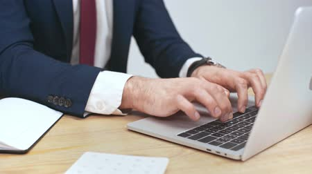 wooden type : partial view of businessman using laptop at workplace Stock Footage