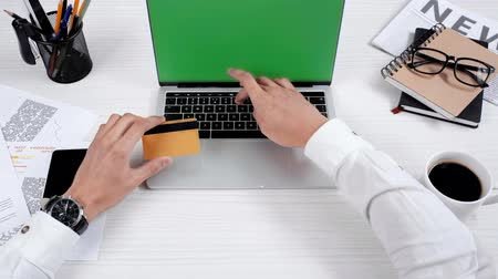 banking document : credit card at workplace Stock Footage