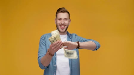 banknotlar : excited man throwing dollar