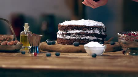 jagoda : blueberries on creamy cake on wooden table Wideo
