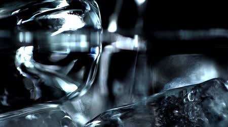 focus pull : rack of ice cubes isolated on black Stock Footage