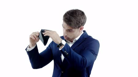 falido : poor businessman shaking empty wallet isolated on white Stock Footage