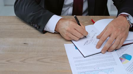 ondertekening : cropped view of businessman writing in notebook and signing contract
