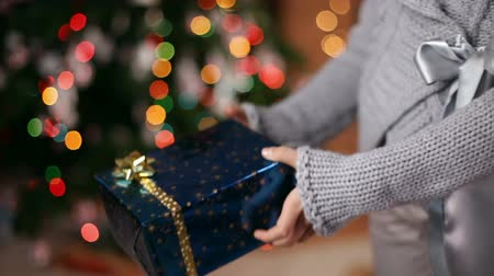 wrapped up : Young girl giving a christmas present stretching out her arm - closeup on hands, blurry xmas tree in background Stock Footage