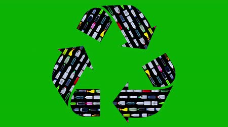 discard : Recycle sign made of plastic bottles moving in rows - reuse concept Stock Footage