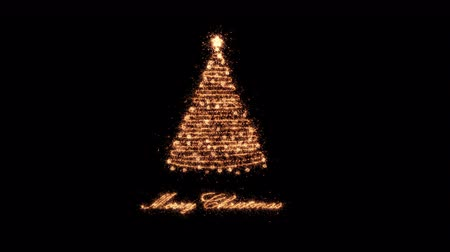 Golden Merry Christmas Tree made of sparklers arranged on one string. Seasonal greeting background for xmas designs. The sparkling particles on a line appear to form a shiny festive chritmas tree.