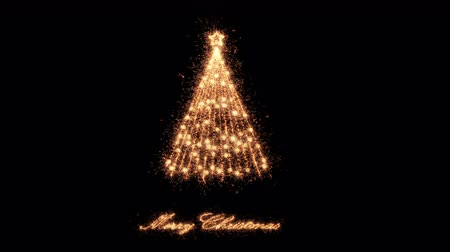 Straight lines emerge from Golden star to form a Merry Christmas Tree of sparklers. Seasonal greeting background for xmas designs. The sparkling particles appear to form a shiny festive chritmas tree.