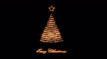 Golden Merry Christmas Tree made of sparklers arranged on waveforms propagating from the star on top. Seasonal greeting background for xmas designs