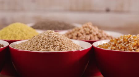 Various gluten free seeds and grains for a healthy diet choice - camera slide in front of bowls Stok Video