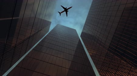 samoloty : Airplane flying over the Financial District. Wideo