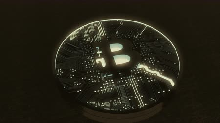 cryptocurrency : Closeup view of a highly detailed Bitcoin.