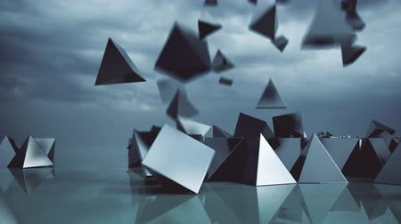 pyramida : Abstract pyramids falling from sky.