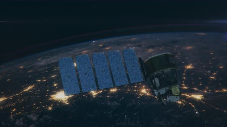 transmit : Incredible view of Satellite Orbiting the Earth. 4K UHD animation.