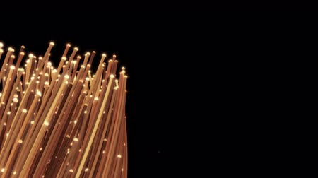 elevação : Coiling fiber optic cables fills a third of the frame. 4K UHD animation