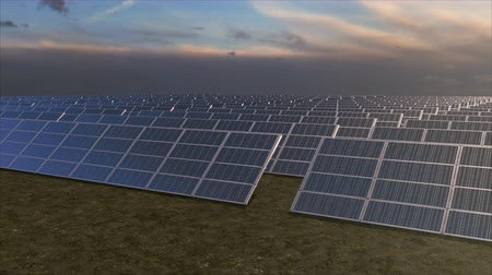 солнечный : Panning aerial tracking shot of a solar farm from a low angle. Highly realistic animation.
