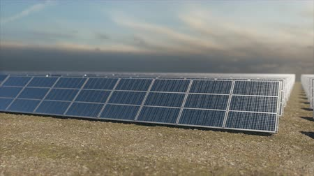 fotovoltaik : Panning aerial tracking shot of a solar farm from a low angle. Highly realistic animation.